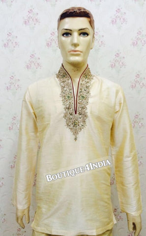 Golden Dupion Silk Men's Kurta