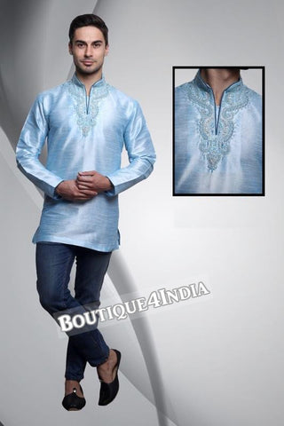 Teal Dupion Silk Men's Kurta