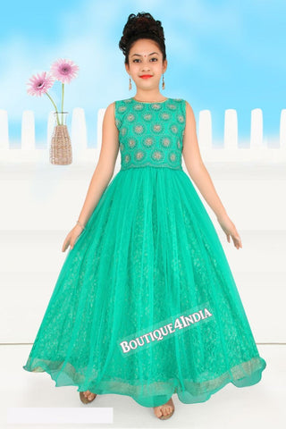 Girls turquoise embroidered Churidar Suit