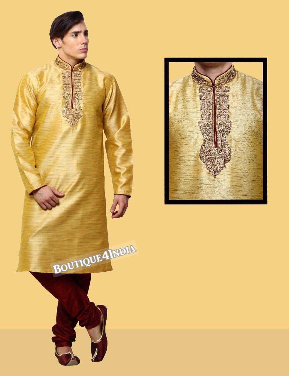 Golden Banarasi brocade Men's Kurta Pyjama