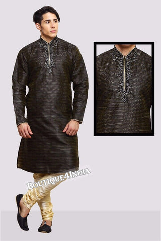 Black Banarasi brocade Men's Kurta Pyjama
