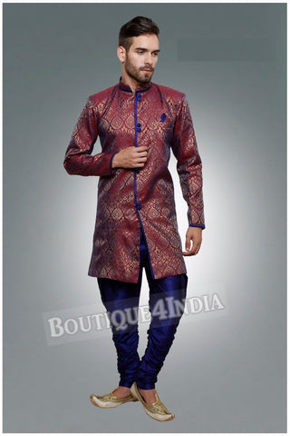 Men's - Maroon and Navy Sherwani