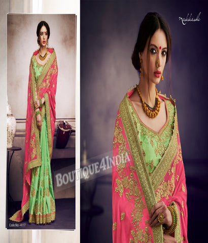 Pistachio Raw Silk Party Wear Heavy Embroidered Saree
