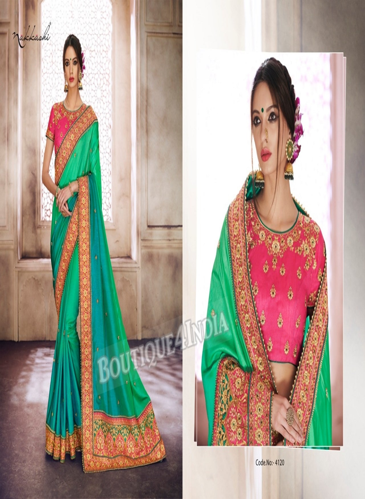 Green Raw Silk Party Wear Heavy Embroidered Saree