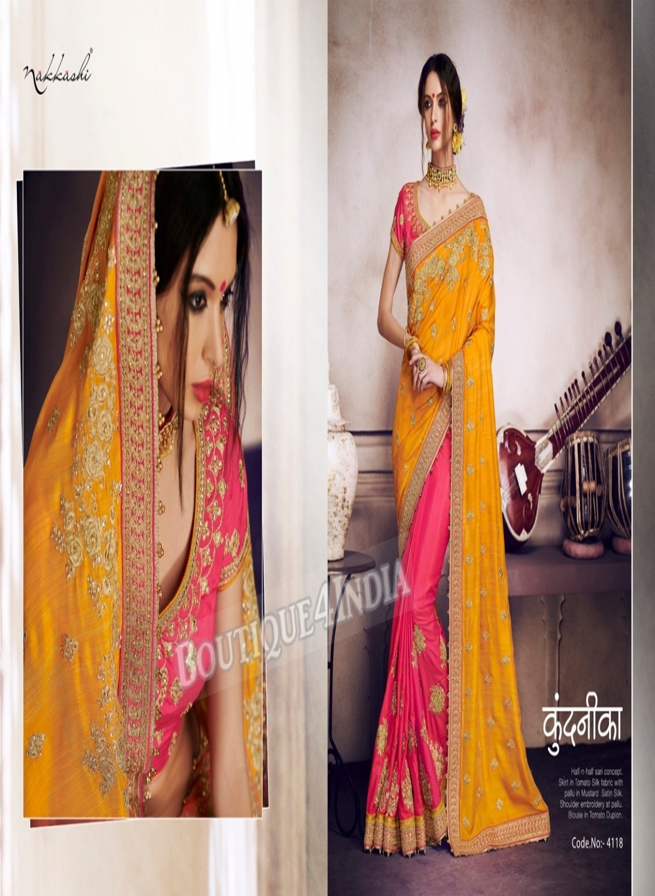 Yellow Raw Silk Party Wear Heavy Embroidered Saree