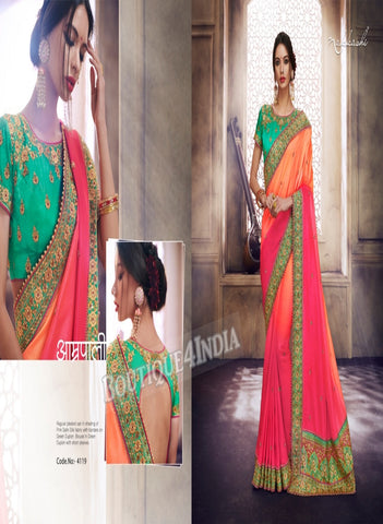 Pink Raw Silk Party Wear Heavy Embroidered Saree