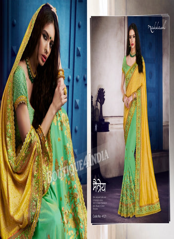 Light green Raw Silk Party Wear Heavy Embroidered Saree