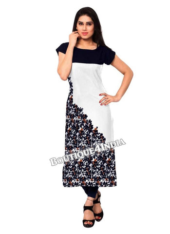 Black and white Crepe Casual wear Printed Kurti