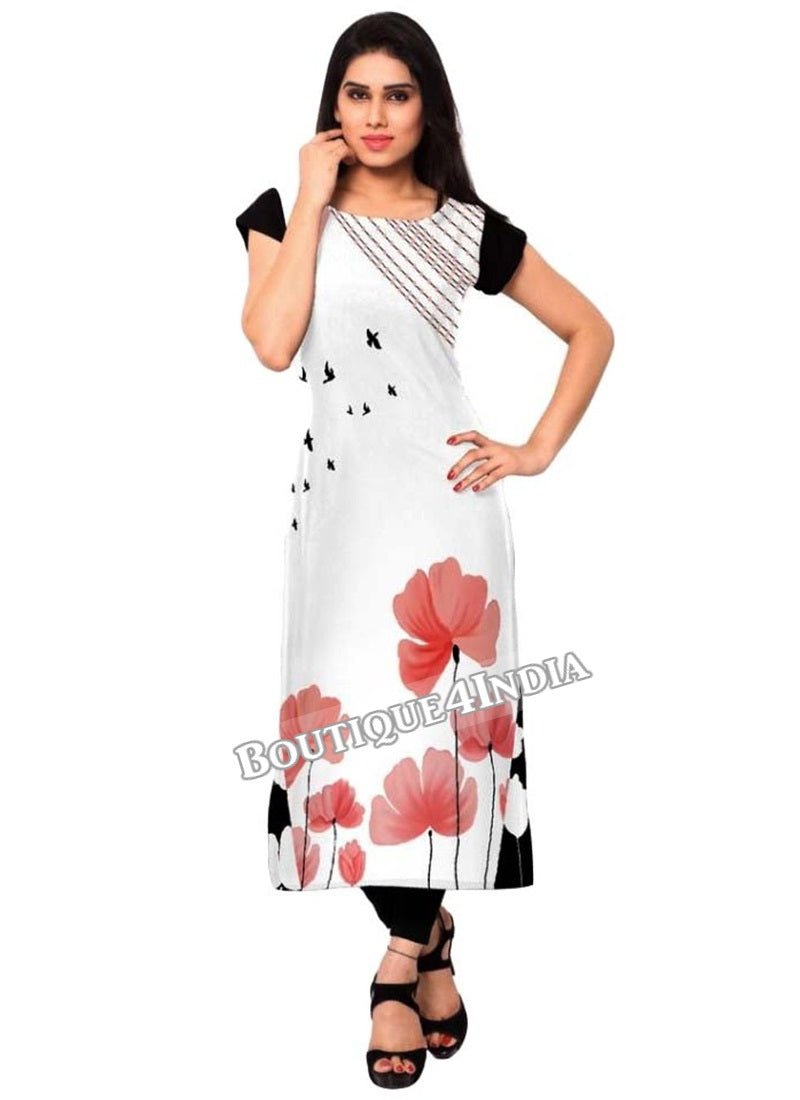 White and peach Crepe Casual wear Printed Kurti