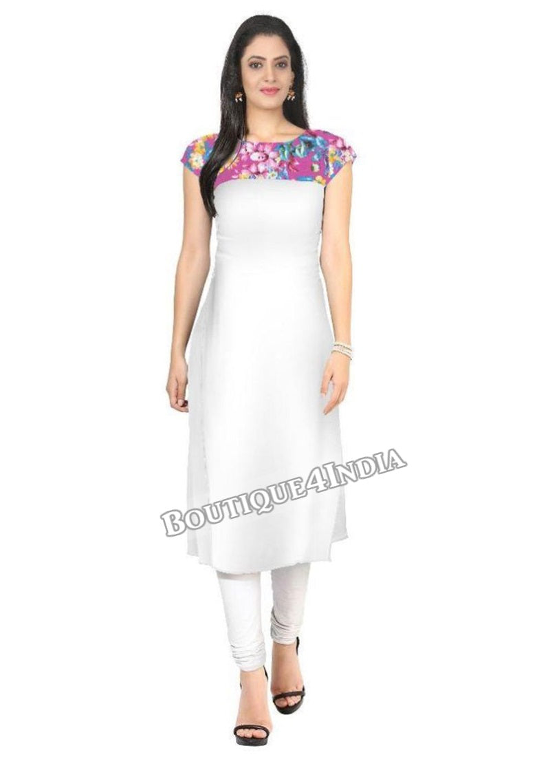 white and purple Crepe Casual wear Printed Kurti