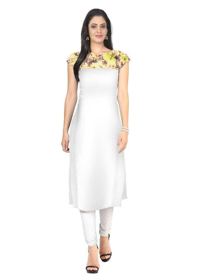 white Crepe Casual wear Printed Kurti