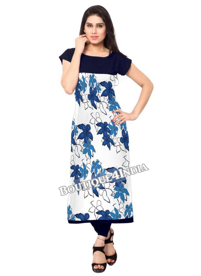 White and floral blue Crepe Casual wear Printed Kurti
