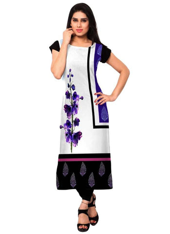 white and blue floral  Crepe Casual wear Printed Kurti