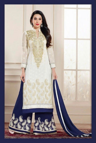 Heavy Work Designer Wedding Collection - White, Golden And Royal Blue Grand And Graceful Heavy Embroidery And Lace Work Unique Collection For Party / Wedding / Festival / Special Occasion - Ready to Stitch - Boutique4India Inc.