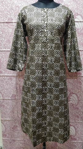 Cotton Straight Hand Block Printed Kurti