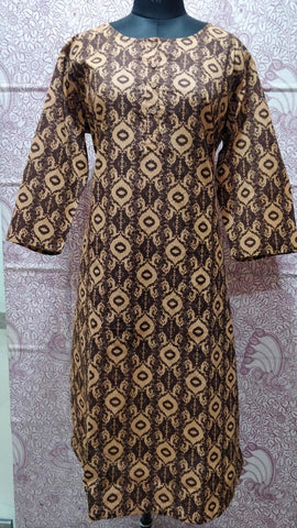 Brown Cotton Straight Hand Block Printed Kurti