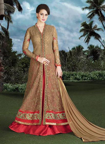 Beige Net Bridal Embroidered Anarkali Suit