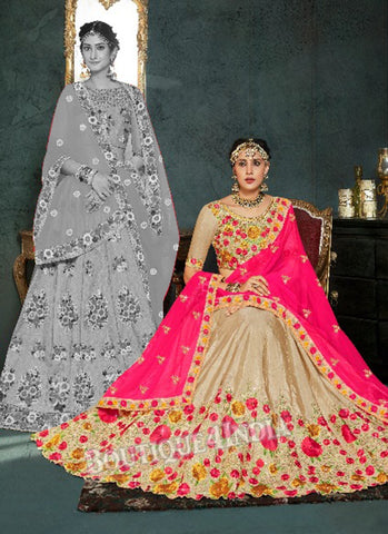 Golden Silk Bridal Embroidered Lehenga