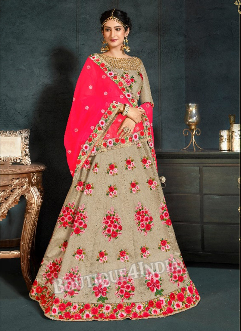 Beige Silk Bridal Embroidered Lehenga