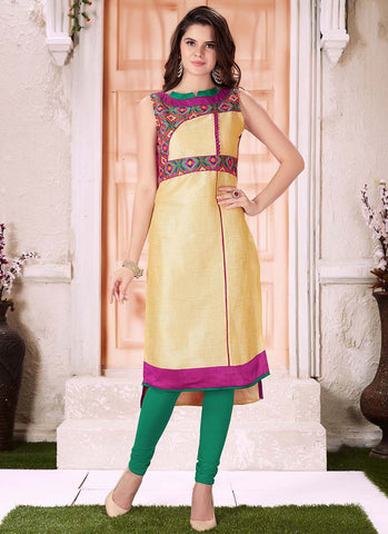 Art Silk pink and golden embroidered Kurti