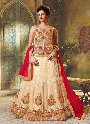 Cream Silk heavy embroidered crop top style Lehenga