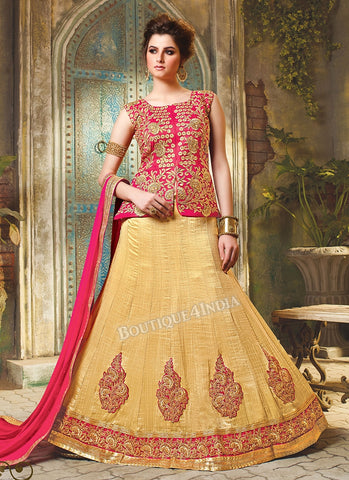 Tomato Red Silk heavy embroidered crop top style Lehenga