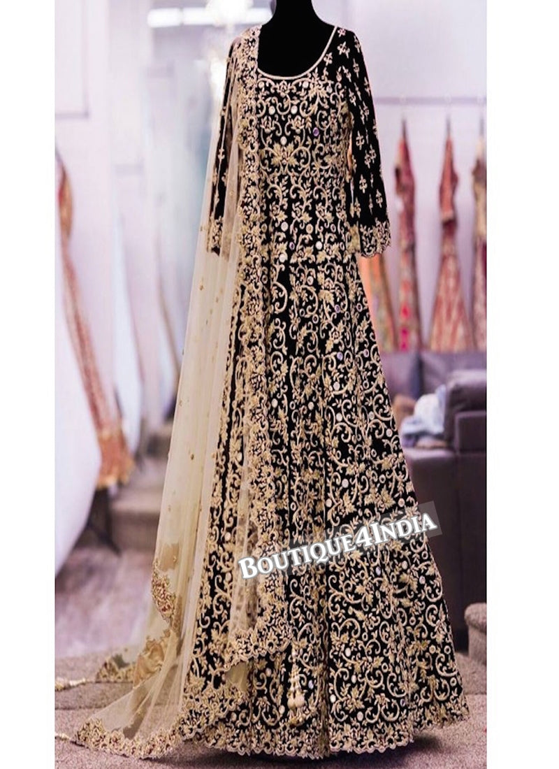 Black Banglori Silk heavy embroidery work anarkali suit