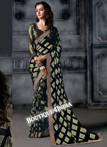 Black Brasso Party Wear Zari Work Saree