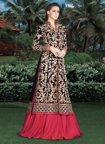 Black and Pink Embroidered Bridal Anarkali Suit