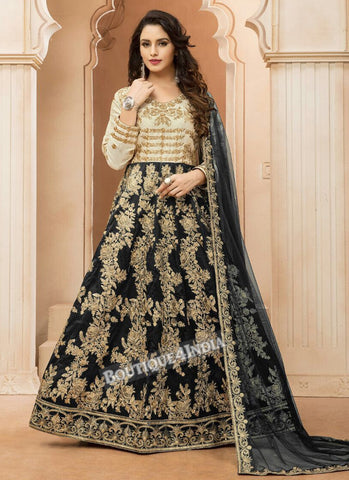 Black Tapeta Silk wedding wear Anarkali suit