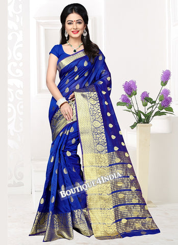 Blue Banarasi silk zari work Saree