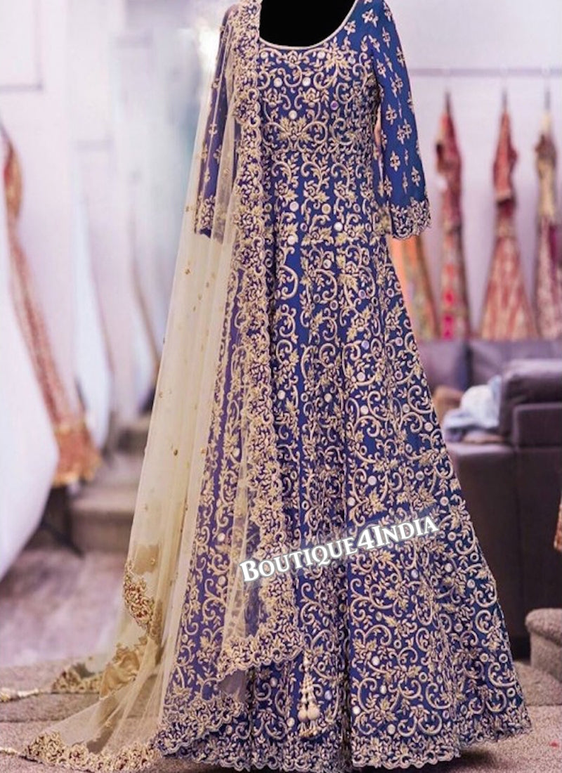 Blue Banglori Silk heavy embroidery work anarkali suit