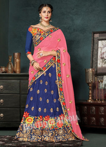 Blue Silk Bridal Embroidered Lehenga