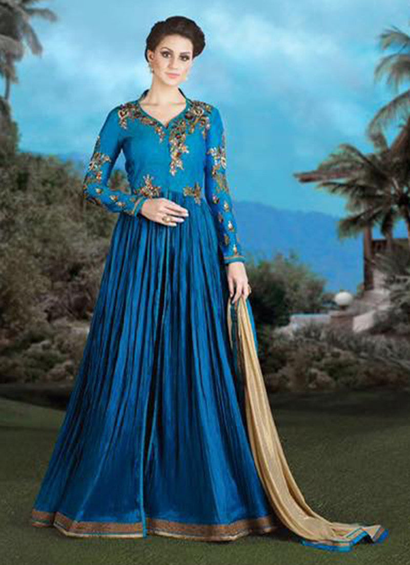 Blue Silk Net Bridal Bridal Anarkali Suit – Boutique4India