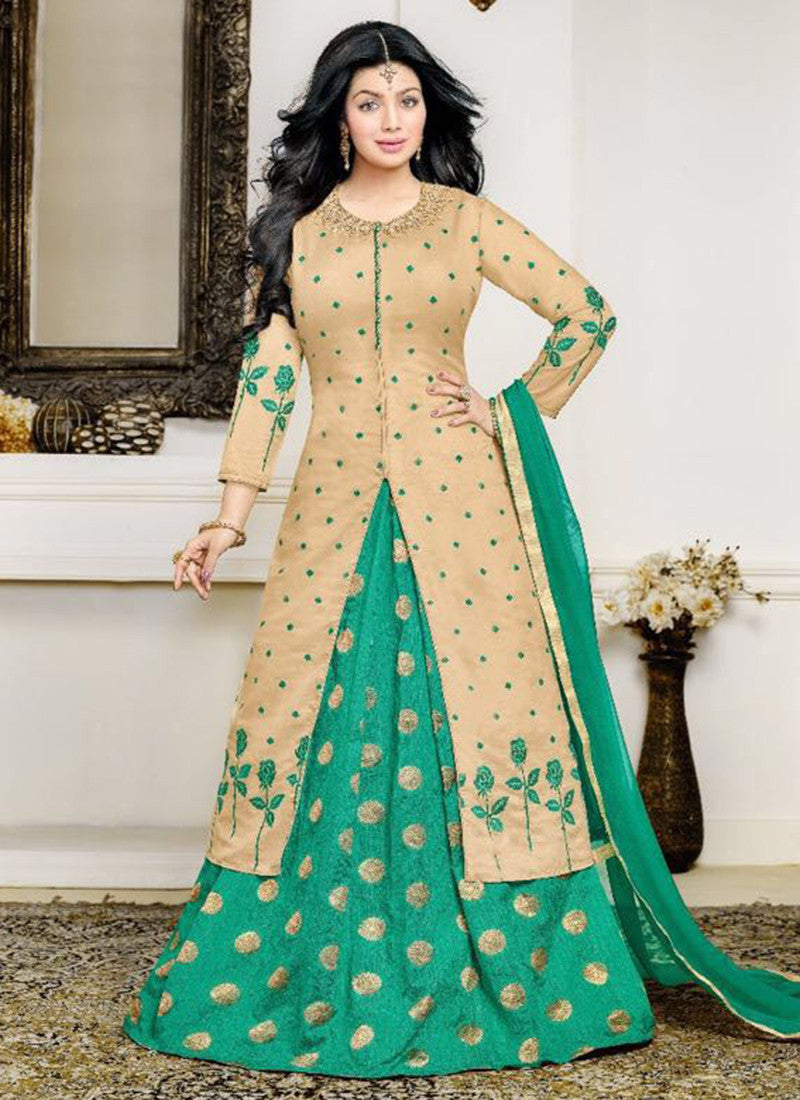 Cotton Beige green Lacha Anarkali Suit