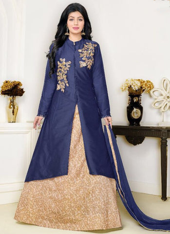 Cotton Navy blue Lacha Anarkali Suit