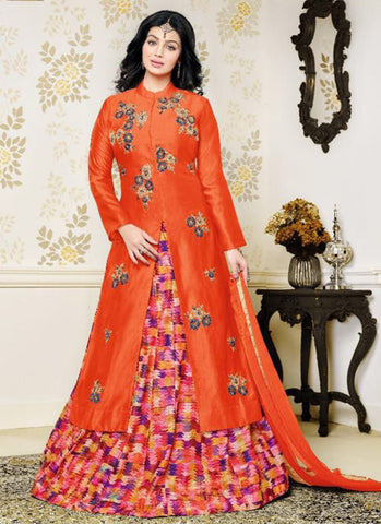 Cotton Orange party wear Embroidered Anarkali Suit