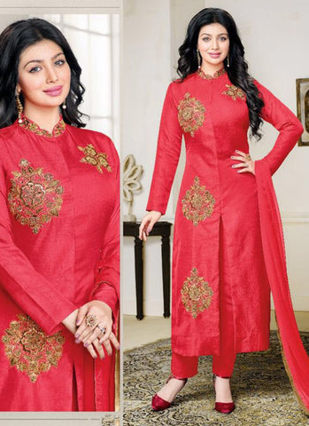 Cotton Party Wear Red Embroidered Anarkali Suit