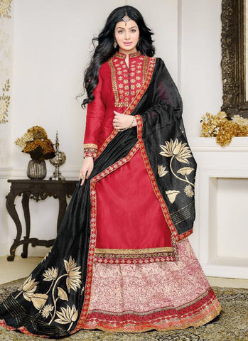 Cotton Red Embroidered Anarkali Suit
