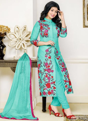 Cotton Sky Blue Embroidered Work Anarkali Suit