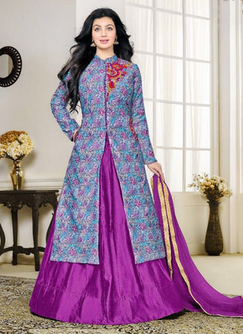Cotton purple Lacha Anarkali Suit