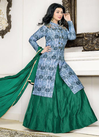 Cotton blue and green Embroidered Anarkali Suit