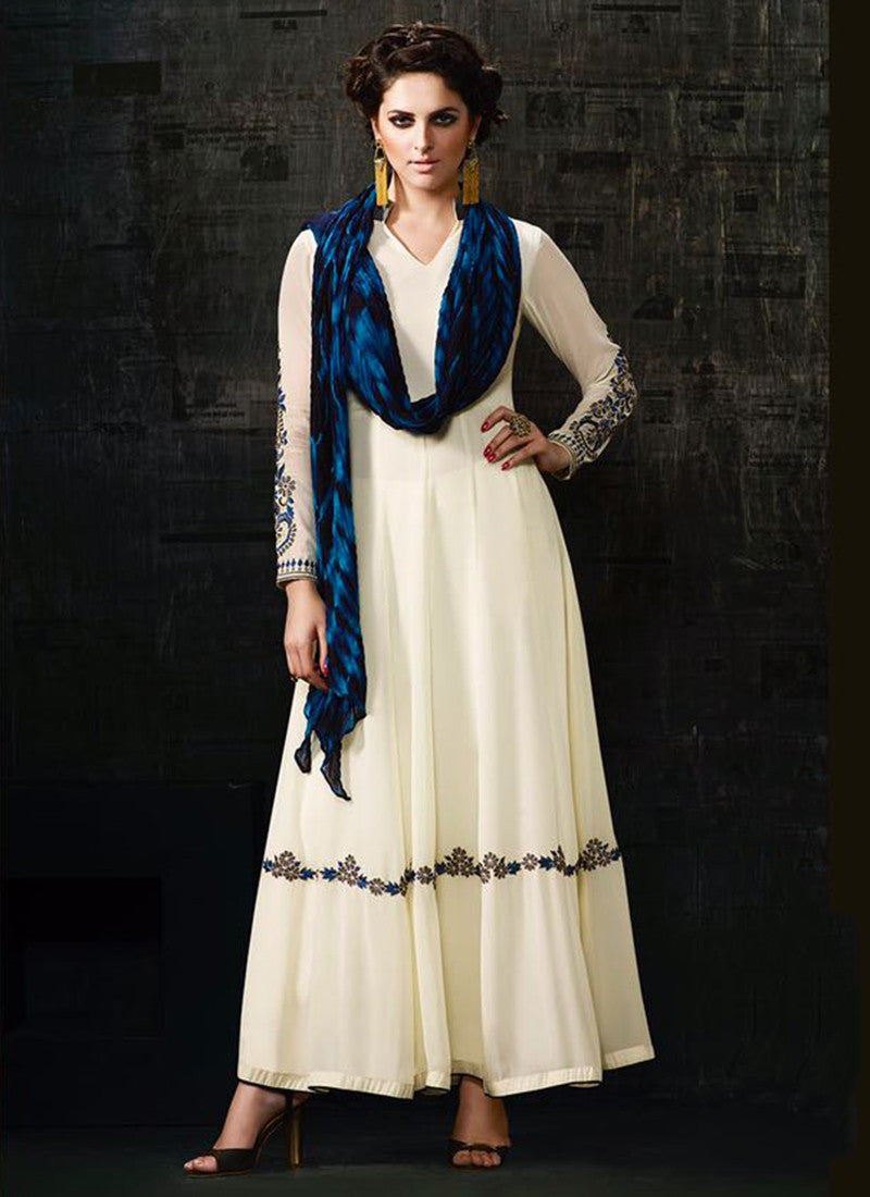 Off white Georgette Party wear Anarkali Suit