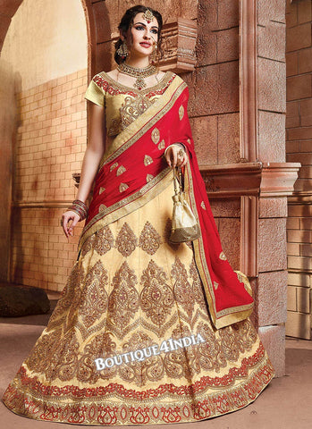 Cream Satin silk reception wear lehenga choli