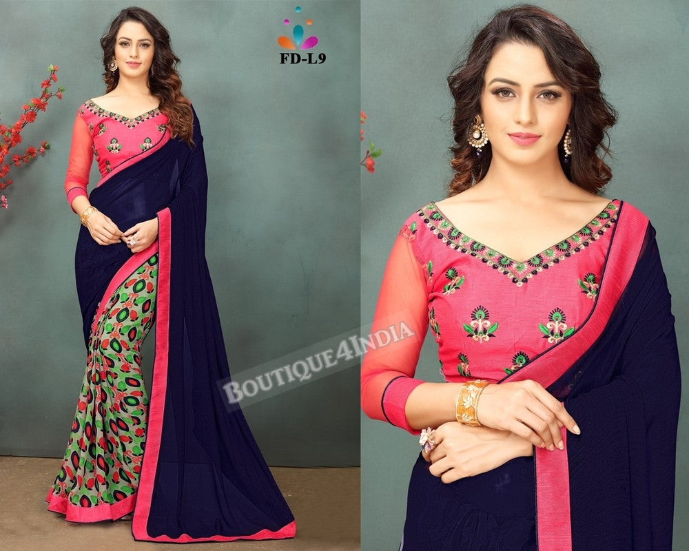 Navy and pink Georgette party wear Saree