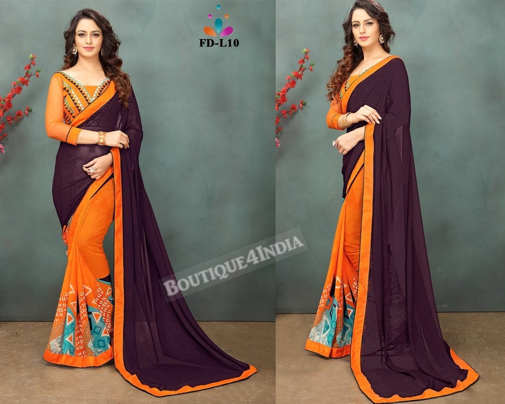 Brown Georgette party wear Saree