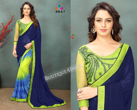Navy and yellow Georgette party wear Saree