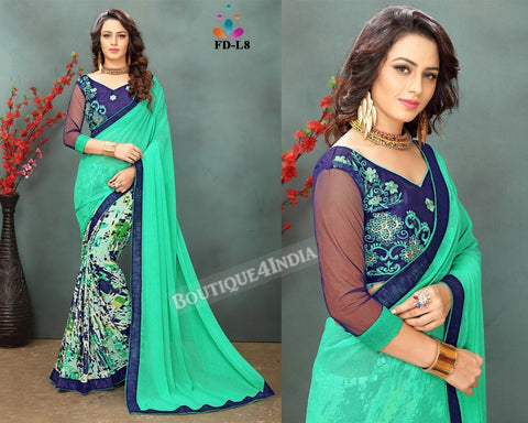 light green Georgette party wear Saree