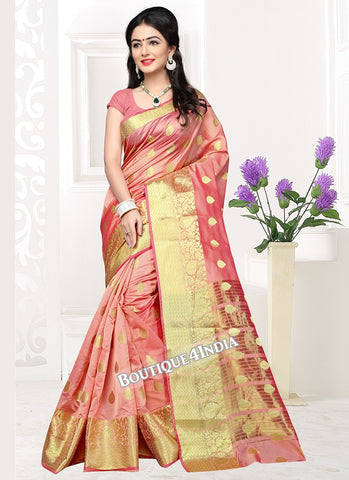 Peach  Banarasi silk zari work Saree