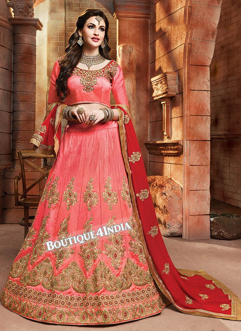 Gajri Satin silk reception wear lehenga choli